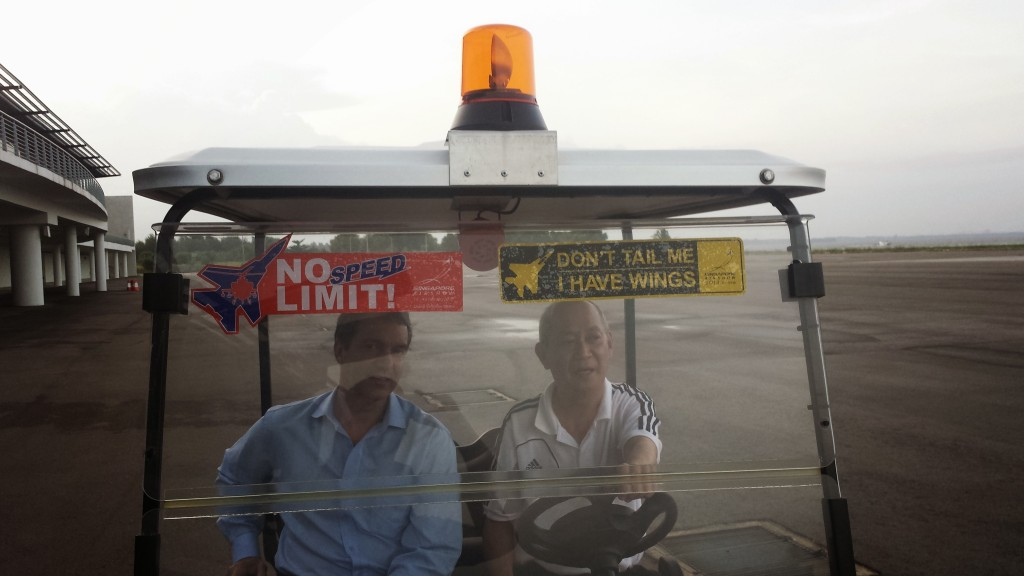 David Amaral of ScentAir Technologies and Terry Jacobson of AllSense Singapore conduct a site recce pre event