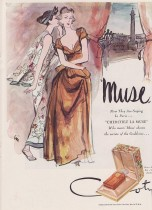 Vintage Mid Century Perfume Ad Muse by Coty 1947