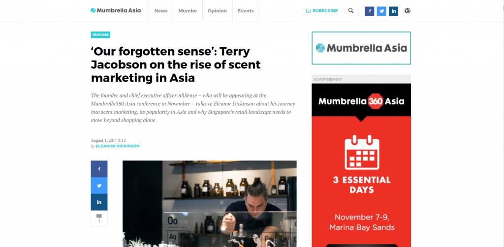 Our forgotten sense Terry Jacobson on the rise of scent marketing in Asia